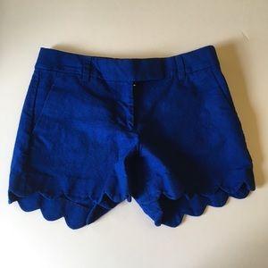 J CREW Royal Cobalt Blue Scallop Shorts Sz.0